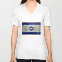 palestine V-neck T-shirts featuring The National flag of the State of Israel - Distressed worn version by Bruce Stanfield