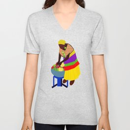 woman and a bowl of fruit  Unisex V-Neck
