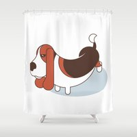 the hound Shower Curtains featuring Basset Hound by Paul Turcanu