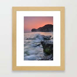 Big Wave. La Joya Beach At Sunset. Framed Art Print