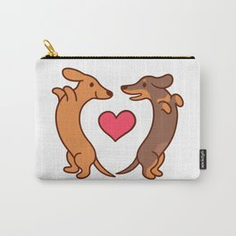 Cute cartoon dachshunds in love Carry-All Pouch