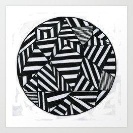Stripes filled circle Art Print