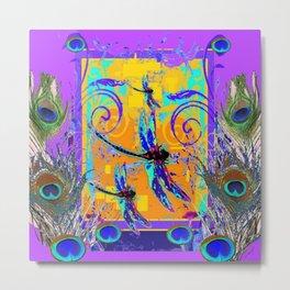 Peacock Feather Dragonflies Fantasy  Garden Metal Print