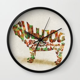 British Bulldog Typography Art / Watercolor Painting Wall Clock
