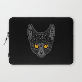 Gray Day of the Dead Sugar Skull Cat Laptop Sleeve