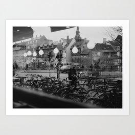 Copenhagen street scene,view from cafe, black and white Art Print