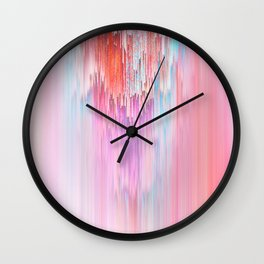 Abstract Cascade Glitch 2.Red and Pink Wall Clock
