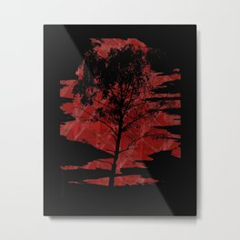 Sunset Birchtree Metal Print