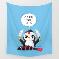 cooking Wall Tapestries featuring Penguin Chef by Freeminds