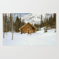 cabin Area & Throw Rugs featuring Wyoming Cabin  by MillennialBrake