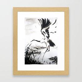 watercolor japan art grue, flying bird chinese ink Framed Art Print
