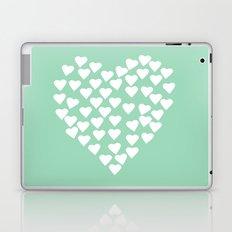 Hearts Heart White on Mint Laptop & iPad Skin