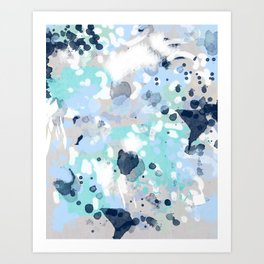 Silva - abstract painting large canvas art print for modern decor cool blue relaxing design urban Art Print