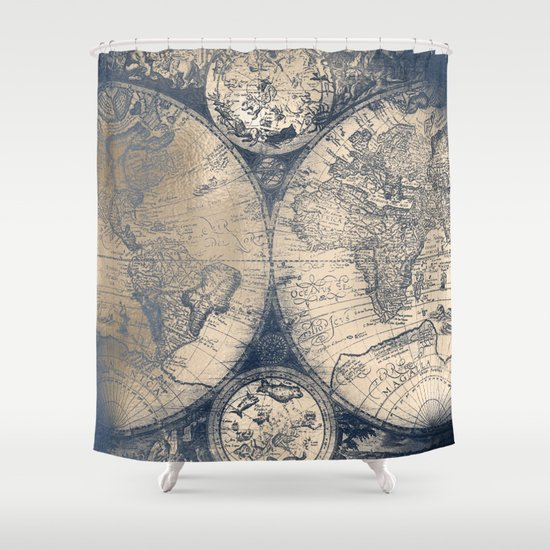 Antique World Map White Gold Navy Blue By Nature Magick Shower Curtain By Nat