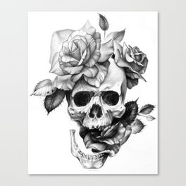Black and white Skull and Roses Canvas Print