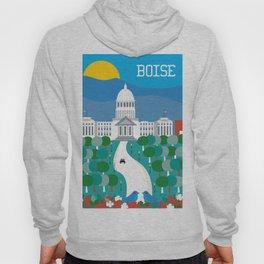 Boise, Idaho - Skyline Illustration by Loose Petals Hoody