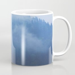Minimalist Foggy Misty Ink Blue Pine Forest Landscape Photography Coffee Mug