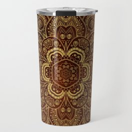Gold Flower Mandala on Red Textured Background Travel Mug
