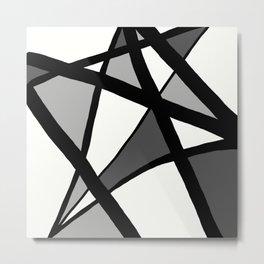 Geometric Line Abstract - Black Gray White Metal Print