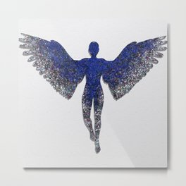 Rainbow Angel on Concrete Metal Print