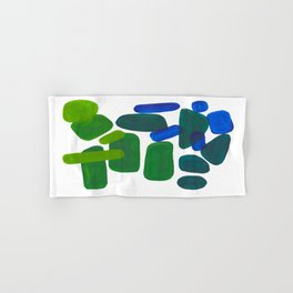 Mid Century Vintage Abstract Minimalist Colorful Pop Art Phthalo Blue Lime Green Pebble Shapes Hand & Bath Towel