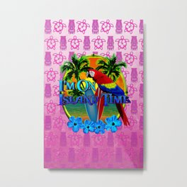 Pink Tiki Island Time Sunset Metal Print