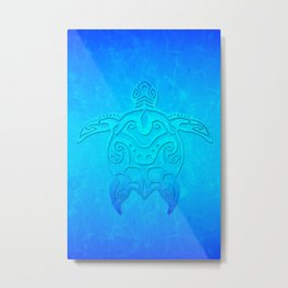 Ocean Blue Tribal Turtle Metal Print