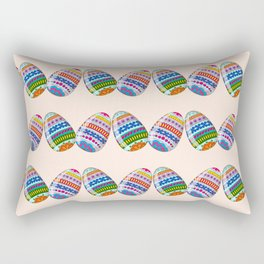 Happy Easter with ornamental eggs Rectangular Pillow