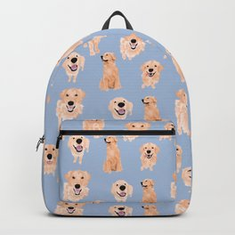 Golden Retrievers on Blue Backpack