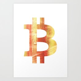Bitcoin Red Yellow colorful watercolor texture Art Print