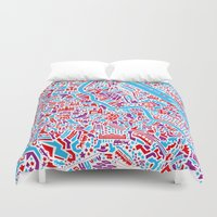 vienna Duvet Covers featuring Vienna City Map Poster by Vianina