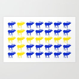 Graphic Swedish Elk Flag I Art Print