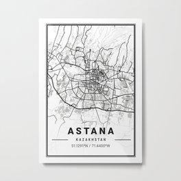 Astana Light City Map Metal Print