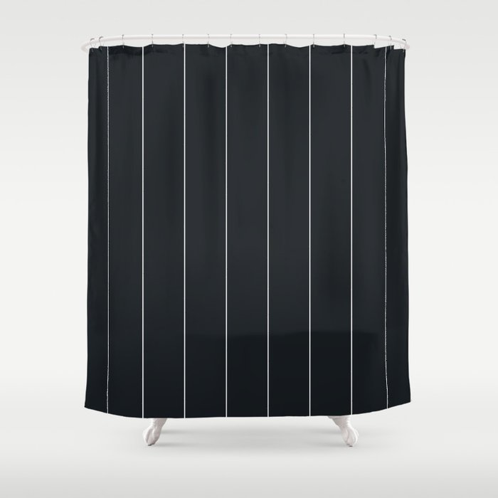 White And Black Pinstripes Shower Curtain By Dpnorth