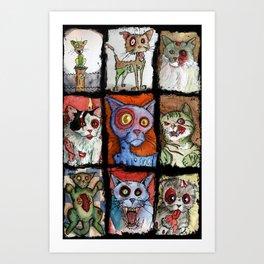 9 zombie cats Art Print