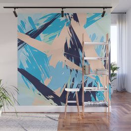 Blue Maritime Nautical Brushstroke Pattern Wall Mural