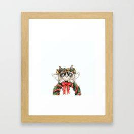Christmas Angel Cat Framed Art Print