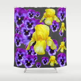 GREY  PATTERN YELLOW IRIS PURPLE PANSY Shower Curtain
