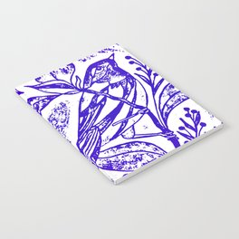 Songbird In Magnolia Wreath, Purple Linocut Notebook