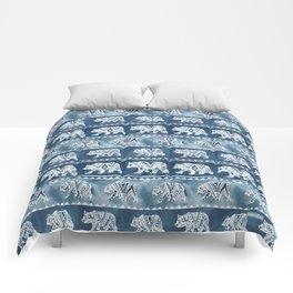 BEAR SPIRIT Indigo Watercolor California Bears Pattern Comforters