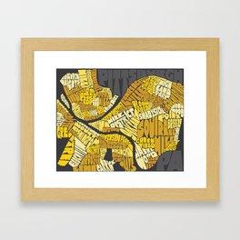 Pittsburgh Typography Neighborhood Map Framed Art Print