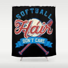 Funny Softball Hair Don't Care Baseball Sport Gift Shower Curtain