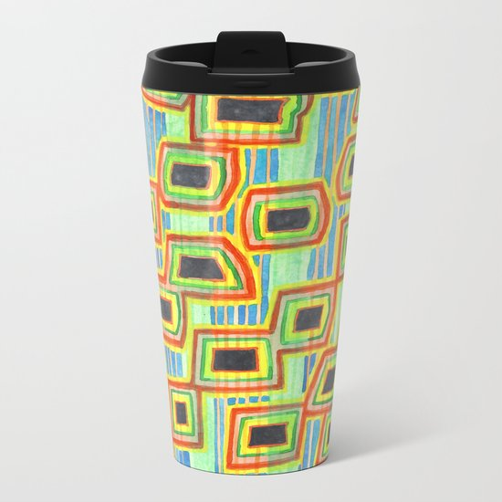 Connected Rectangle Shapes with Vertical Stripes Pattern Metal Travel Mug