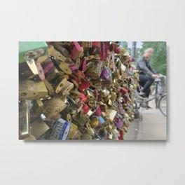 Paris Love Lock Bridge  Metal Print