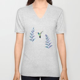 Hummingbird with tropical leaves watercolor design Unisex V-Neck