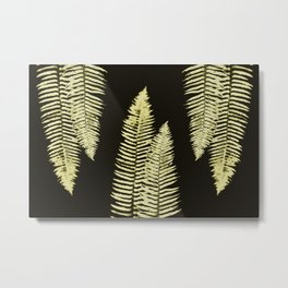 Yellow and Black Forest Ferns Metal Print