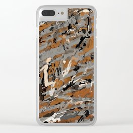 Gray, Black and Caramel Abstract Clear iPhone Case