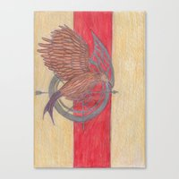 mockingjay Canvas Prints featuring Mockingjay. by Charon Lloyd-Roberts-Ledi Perehodov Arts