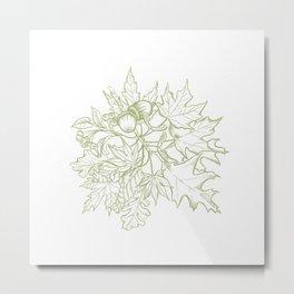 Leaf Mix Green Metal Print