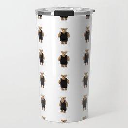 Teddy Bear with a Black Jumpsuit Travel Mug